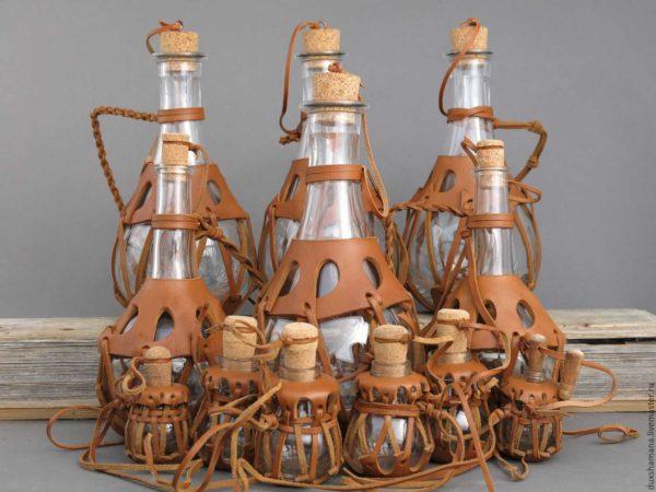 кожаный оплет для бутылки